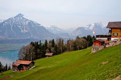 Spring in Swiss Alps. Sunny day on the mountains hills stock photo