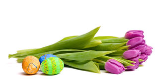 Spring symbols: tulips and Easter eggs Royalty Free Stock Photos