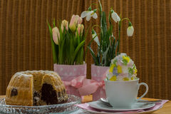 Spring table. Coffee and cake on the spring table Stock Photo