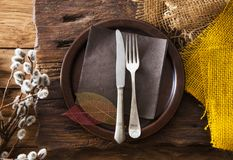 Spring table setting. Cutlery on wood stock photos