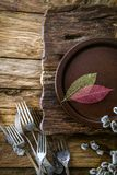 Spring table setting. Cutlery on wood stock photo