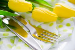 Spring Table Setting for Easter or Mother`s Day Stock Images