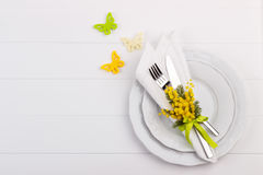 Spring table setting Stock Photos
