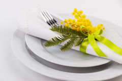 Spring table setting. With mimosa. Holidays background with copyspace Stock Photography