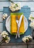 Spring table setting stock photos