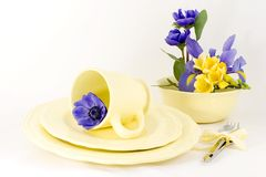 Spring table setting yellow. This will probably be my Easter table setting, the yellow service with spring bulbs, (iris,fresisia and anemones) it just needs food Royalty Free Stock Photography
