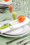 Spring table settings Royalty Free Stock Image