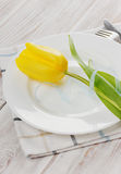Spring table settings with fresh tulips Stock Photography