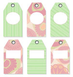 spring tags with patterned flowers Stock Image