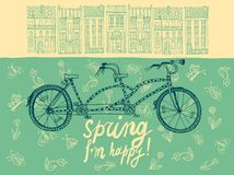 Spring tandem bicycle Stock Image