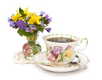Spring teacup and flowers stock photography