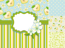 Spring template.Label,apple,flowers,pattern Stock Image