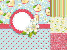 Spring template.Label,flowers,apple,pattern Royalty Free Stock Images