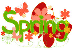 """Spring Text in Bright colors. Abstract concept collage of hand drawn """"Spring"""" text with flowers and butterflies Royalty Free Stock Photos"""