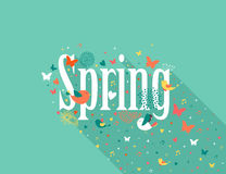 Spring text flat design composition Royalty Free Stock Photos