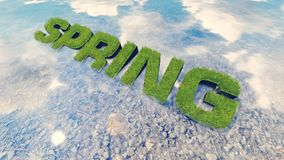 Spring text made from fresh grass among a water stream 3 Stock Image