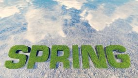 Spring text made from fresh grass among a water stream 2 Stock Photography