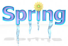 Spring text melts with icicles and flower Royalty Free Stock Photos