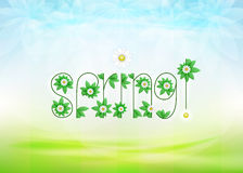 Spring text message with green leaves and daisy blossoms on green landscape. Background vector illustration with my own font design Royalty Free Stock Image