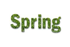 Spring text with white background Stock Photos