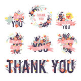 Spring thank you set. Colored thank inscriptions Stock Images