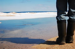 Spring Thaw. A man's legs in tall boots on a lake thawing out in the springtime Stock Image