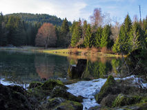 Spring thaw. Mountain lake in the spring stock photography