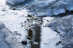 Spring thaw the Creek in the snow. Spring thaw, the trickle of snow in the spring royalty free stock photos