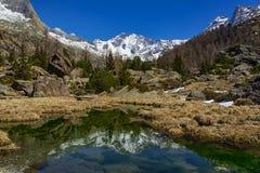 Spring thaw. In the Italian alps stock photos