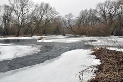 Spring thaw on the river. Spring thaw on a small river with dry grass on the shores and trees royalty free stock images