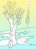 Spring thaw, tree drawing Royalty Free Stock Photos