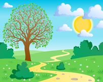 Spring theme landscape 1. Vector illustration Stock Photo