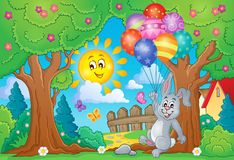 Spring theme with rabbit and balloons Royalty Free Stock Image