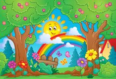 Spring theme with rainbow. Eps10 vector illustration Stock Photos