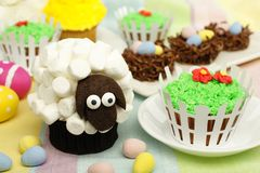 Spring themed animal cupcakes Royalty Free Stock Photo