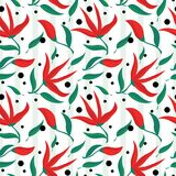 Spring themed red flowers and green leaves seamless pattern Royalty Free Stock Images