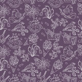 Spring thin line seamless pattern with  icons. Stock Images