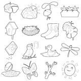Spring things icons set, cartoon outline style Royalty Free Stock Photography