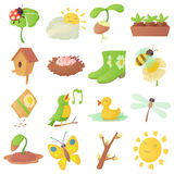 Spring things icons set, cartoon style Stock Image