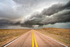 Spring thunderstorm Rolling Through the Nebraska Sandhills. An early spring thunderstorm brings rain, hail, high winds and Lightning to the sandhills of Nebraska Royalty Free Stock Photography