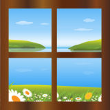 Spring time. Illustration of a day spring seen through a window.EPS file available Royalty Free Stock Photo