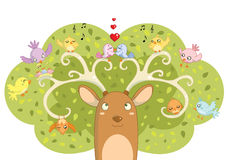 Spring time. Illustrations of a cute deer tree full of funny busy birds Royalty Free Stock Photos