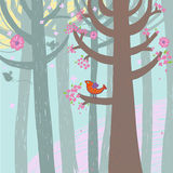 Spring time. In forest illustration Stock Image