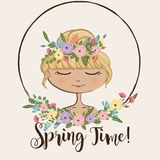 Spring Time - Girl With Flower Crown Illustration - vector eps10. Spring Time! - Blond Girl With Flower Crown Illustration - vector eps10 Royalty Free Stock Photography