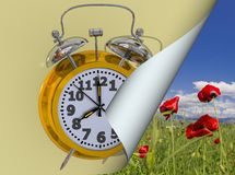Spring time change clock yellow golden time alarm shandwows - 3d rendering stock illustration