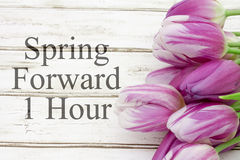 Spring Time Change. Some tulips with weathered wood and text Spring Forward 1 Hour Stock Images