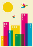 Spring time city. Spring time in the city. Full color humming birds flying over the city. Vector file available Royalty Free Stock Photography