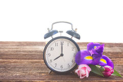 Spring time concept. Retro alarm clock with flowers on wooden shelf stock images