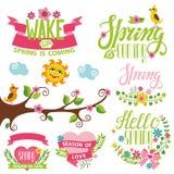 Spring time decor set.Bird,flowers,lettering, tree, sun Royalty Free Stock Image