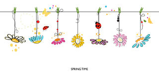 Spring time decorative floral abstract border background vector Royalty Free Stock Photos